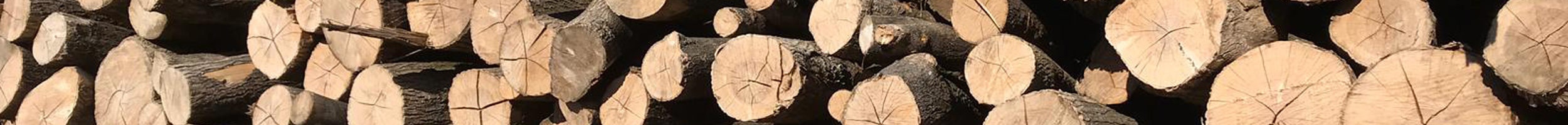 About Us header image of stacked logs at ALL FIRED UP in Dereham