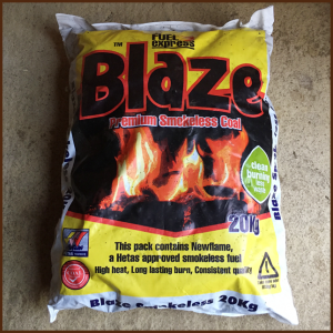 Blaze premium smokeless coal 20kg for clean burning and less waste from ALL FIRED UP